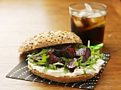 Beetroot, goat's cheese and rocket sandwich