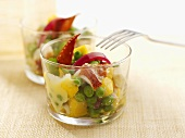 Lobster salad with peas and potatoes