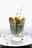 Rice paper rolls with salmon and vegetable filling