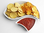 Corn chips with fiery sauce