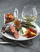 Seared charr fillet with candied fruit
