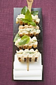 Skewered obatzda italiano sandwiches (Camembert spread)
