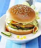 Chicken burger with sweetcorn, iceberg lettuce & cucumber