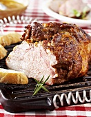 Grilled, marinated leg of lamb