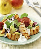Spinach & radicchio salad with bresaola & grilled pears