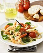 Grilled shrimps on vanilla salad