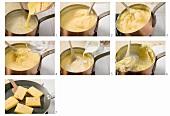 Making polenta gratinata (fried polenta slices)