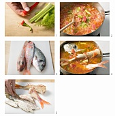 Making brodetto di pesce (mixed fish stew), Italy