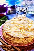 Turkish cake with cinnamon, almonds and honey