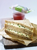 Egg and cress tramezzini and berry smoothie