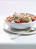 Fruit crumble with wheat and nuts