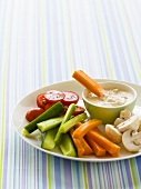 Raw vegetable platter with hummus