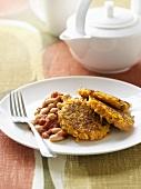 Sweet potato rösti with baked beans
