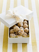 Apricot chocolate truffles to give as a gift