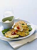 Asparagus and sweetcorn pancakes with sour cream