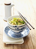 Salad of soba noodles and cucumber with sesame seeds