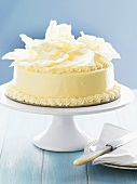 White chocolate cake for special occasion on cake stand