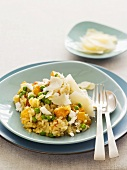 Pumpkin and pea risotto with Parmesan