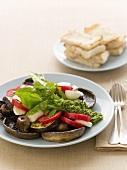 Fried Portobello mushrooms with pesto, vegetables & mozzarella