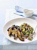 Fried mushrooms with garlic and wild rice salad