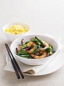 Stir-fried garlic prawns with choy sum (Chinese flowering cabbage)