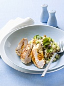 Chicken breast with apricot stuffing and rice