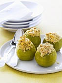 Baked apples stuffed with rolled oats