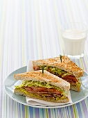 BLT sandwiches and glass of milk for children
