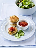 Fish cakes with tomato sauce