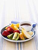 Fruit with chocolate dip