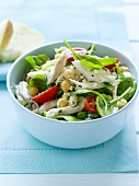Chicken, chick-pea and baby spinach salad
