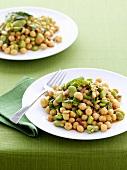 Chick-pea and broad bean salad
