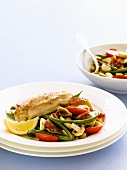 Chicken breast with bean and mushroom salad