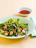 Mushroom and salmon salad