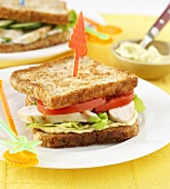 Toasted chicken and tomato sandwich
