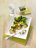 Broccoli with vegetable sauce and mozzarella