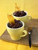 Acai berry sorbet in espresso cups