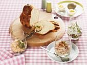 Brioche & savoury spreads (ham & mustard, salmon, cucumber)