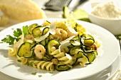 Fusilli rosa e verde (Pasta with prawns and courgettes)
