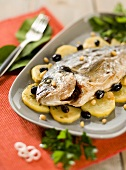 Orata alla ligure (Sea bream with potatoes & olives, Italy)