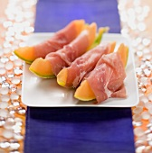 Ham-wrapped melon wedges
