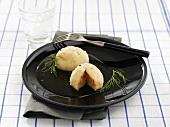Laxiga Kroppkakor (Potato dumplings with salmon filling)