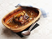 Braised loin of pork in terracotta pot (Sweden)