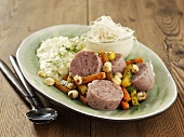Sausage salad with parsnip puree and horseradish