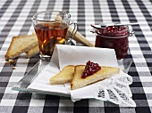 Black tea, toast and redcurrant jam