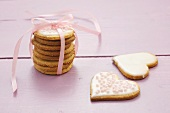 Almond biscuits with pink gift ribbon