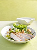 Chicken salad with mangetout