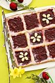 Mazurek with jam and almonds (Easter cake, Poland)