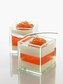Molecular gastronomy: vanilla cream with orange jelly & orange caviar