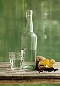 Vodka in bottle and glass, potato beside them